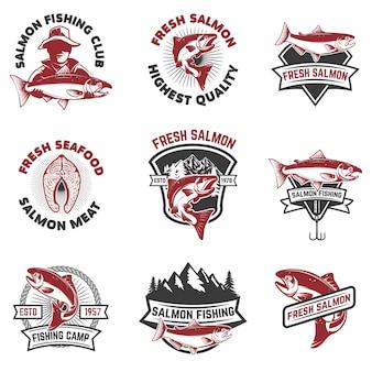 Zestaw emblematów połowów łososia. elementy, etykieta, znak. ilustracja.