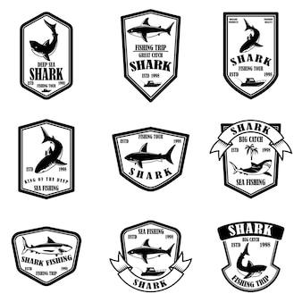 Zestaw emblematów połowów rekina.