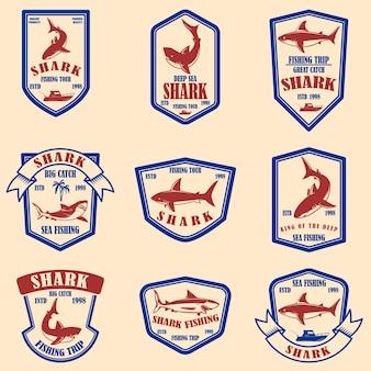 Zestaw emblematów połowów rekinów