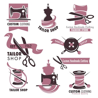 Zestaw emblematów promocyjnych sklepu krawieckiego i mody