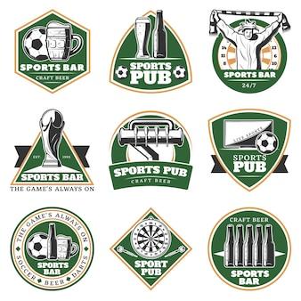 Zestaw emblematów pub kolorowy vintage sport