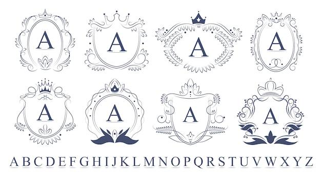 Zestaw emblematów retro kwiecisty monogram
