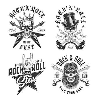 Zestaw emblematów rock and rolla