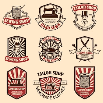 Zestaw emblematów rocznika sklepu krawieckiego
