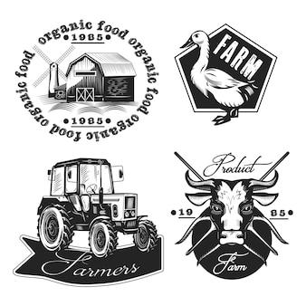Zestaw emblematów rolnictwa na białym tle.