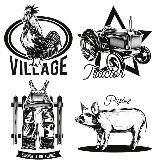 Zestaw emblematów rolnictwa