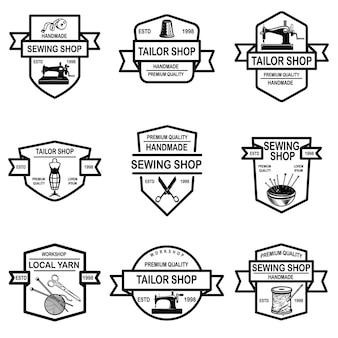 Zestaw Emblematów Sklepu Krawieckiego Premium Wektorów