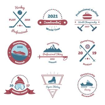 Zestaw emblematów sportów zimowych
