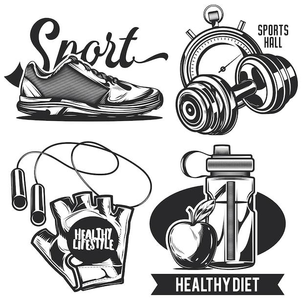 Zestaw emblematów sportowych, etykiet, odznak, logo.