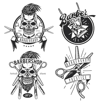 Zestaw emblematów sprzęt fryzjerski, etykiety, odznaki, logo.