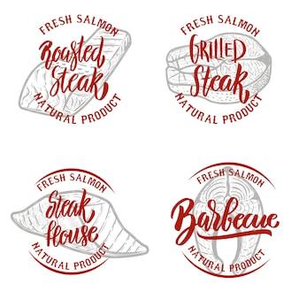Zestaw emblematów stek z łososia na białym tle. elementy logo, etykiety, godło, znak. ilustracja
