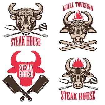 Zestaw emblematów stekowych. etykiety z główkami byków. elementy logo, etykiety, godło, znak. ilustracja
