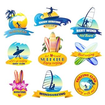 Zestaw emblematów surfingu