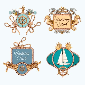 Zestaw emblematów szkicowania jachtów