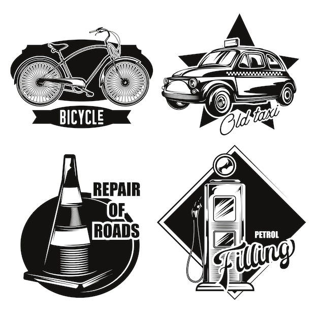 Zestaw emblematów transportu drogowego