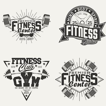 Zestaw emblematów typografii fitness