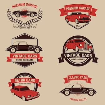 Zestaw emblematów usług retro samochodów