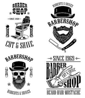Zestaw emblematów vintage fryzjer