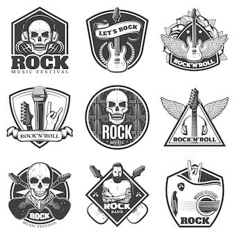 Zestaw emblematów vintage monochromatyczne muzyki rockowej
