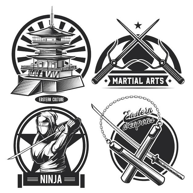 Zestaw emblematów vintage ninja