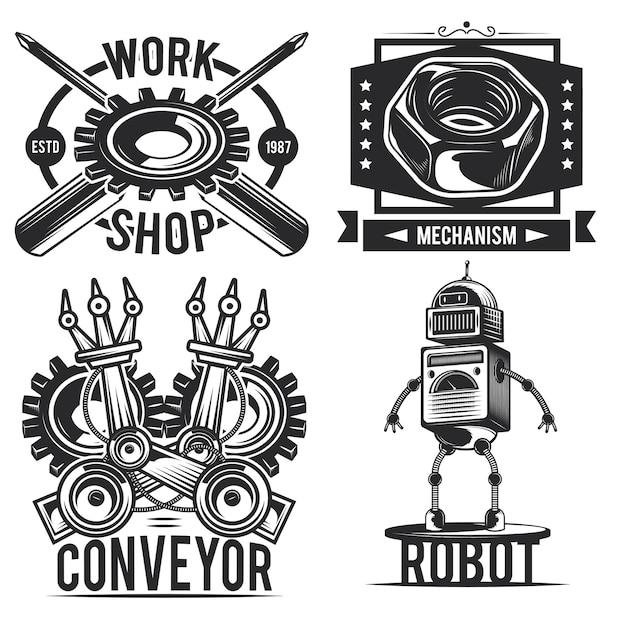 Zestaw emblematów vintage robota