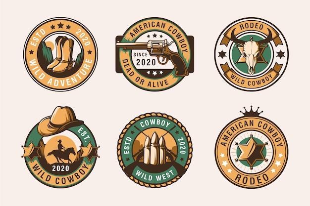 Zestaw emblematów vintage rodeo kowboja, etykiety, odznaki