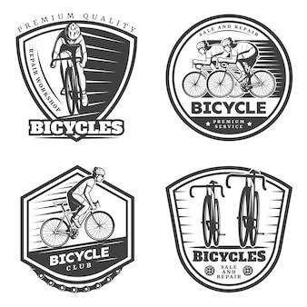 Zestaw emblematów vintage sport kolarstwo