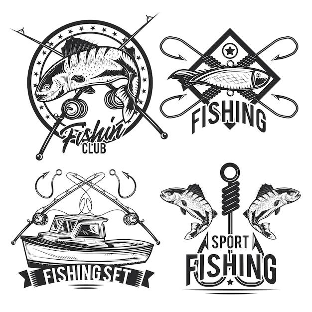 Zestaw emblematów wędkarskich, etykiet, odznaki, logo.
