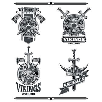 Zestaw emblematów wikingów