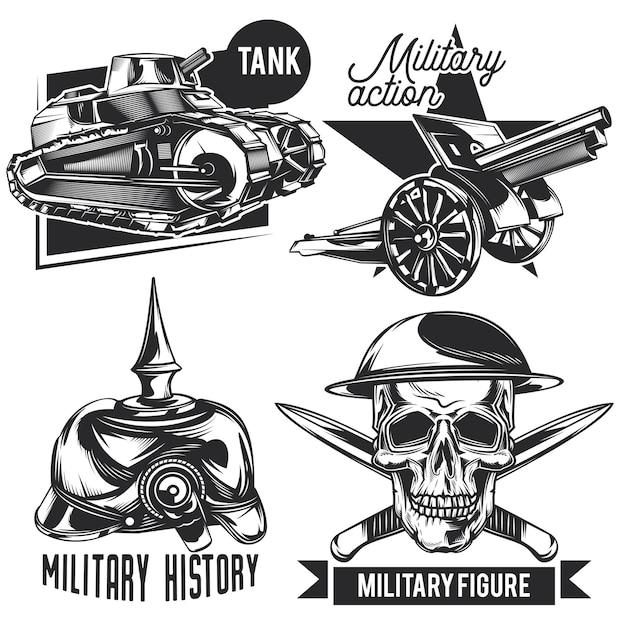 Zestaw emblematów wojennych, etykiet, odznak, logo. na białym tle