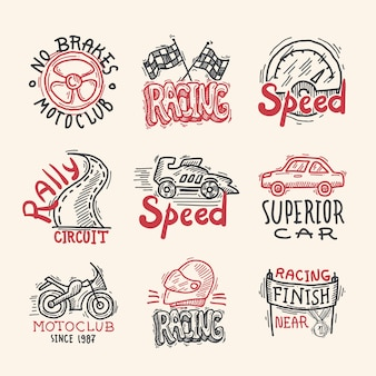 Zestaw emblematów wyścigowych