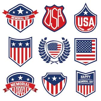Zestaw emblematów z amerykańską flagą. dzień pamięci. ilustracja