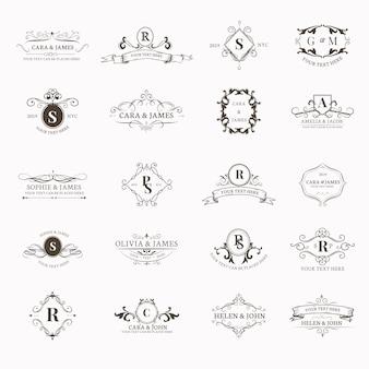 Zestaw emblematów z inicjałami