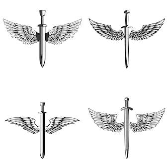 Zestaw emblematów ze średniowiecznym mieczem i skrzydłami.