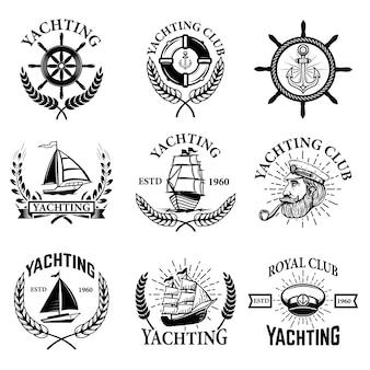 Zestaw emblematów żeglarstwo na białym tle. klub żeglarski, łódki. elementy logo, etykiety, godła, znaku. ilustracja