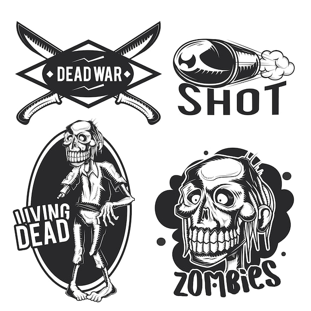 Zestaw emblematów zombie, etykiet, odznaki, logo.