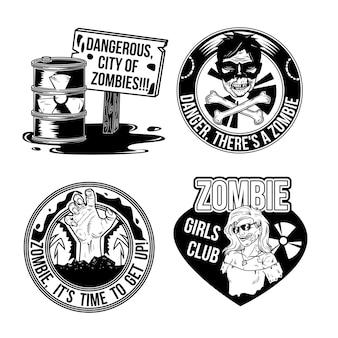 Zestaw emblematów zombie
