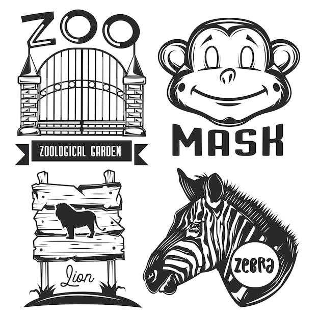 Zestaw emblematów zoo, etykiet, odznak, logo.