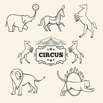 Zestaw emblematów zwierząt cyrkowych