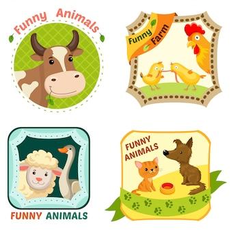 Zestaw emblematów zwierząt gospodarskich.