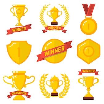 Zestaw emblematów zwycięzcy w stylu płaski.