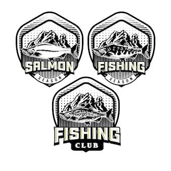 Zestaw emblematu odznaki klubu wędkarskiego vintage