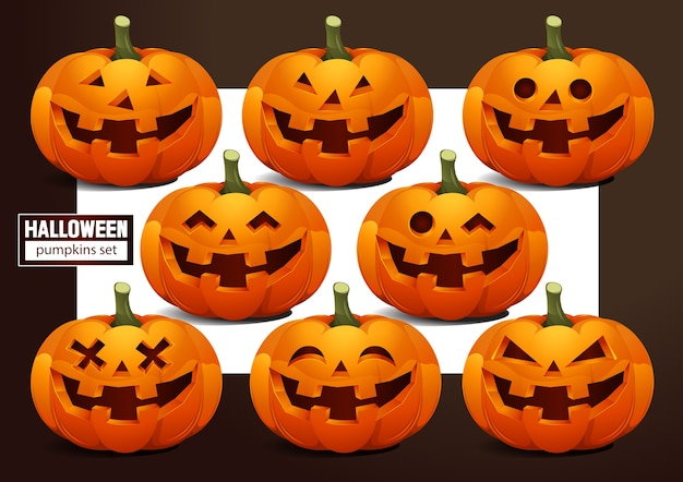 Zestaw emocji dyni halloween.