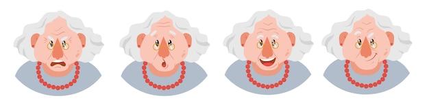 Zestaw emocji twarzy babci. ładny staruszka w okularach z różnymi wyrażeniami.