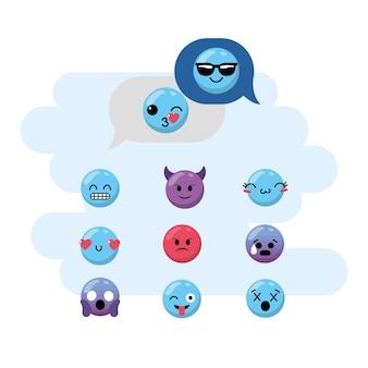 Zestaw emoji emocja projekt ikona kawaii