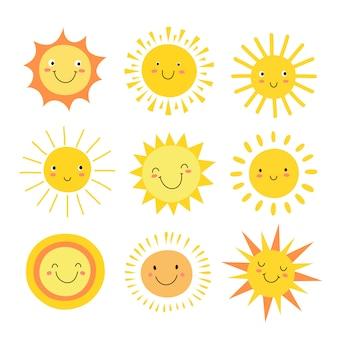 Zestaw emoji słońca