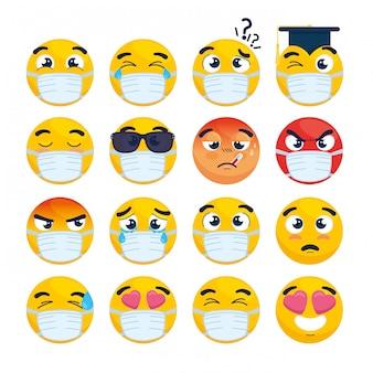 Zestaw emoji w masce medycznej, żółte twarze z białą maską chirurgiczną, ikony wybuchu koronawirusa
