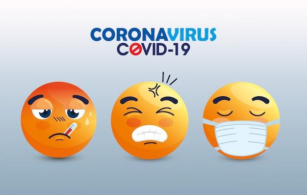 Zestaw emoji w masce medycznej, żółte twarze z białymi maskami chirurgicznymi, ikony wybuchu koronawirusa