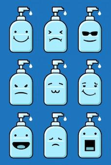 Zestaw emoticonów handsanitizer