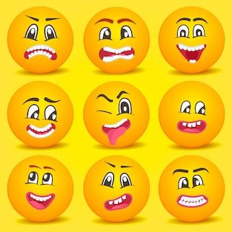 Zestaw emotikon buźka kreskówka